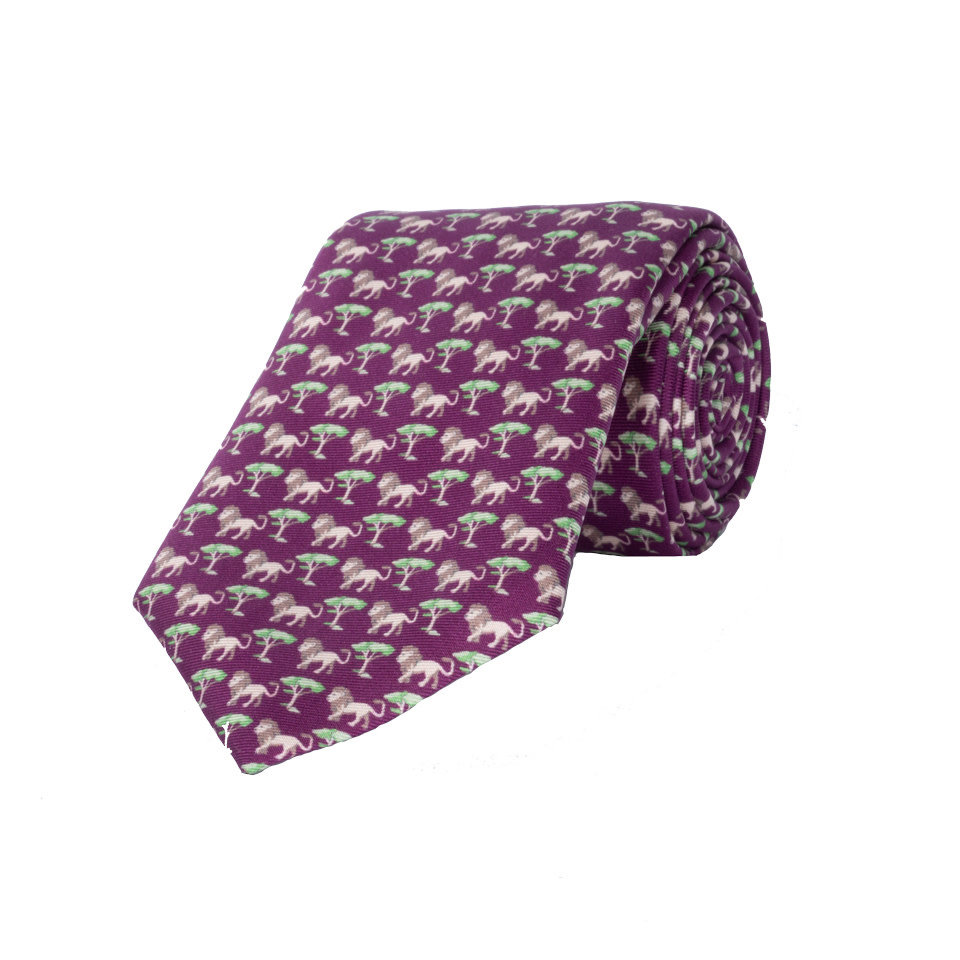 Silk Tie, Lion - Wine