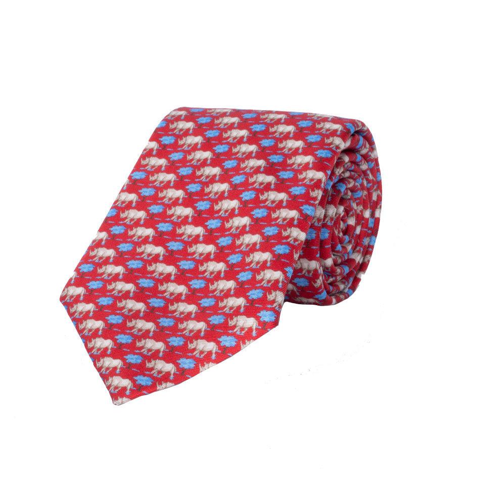 Silk Tie, Rhino - Red