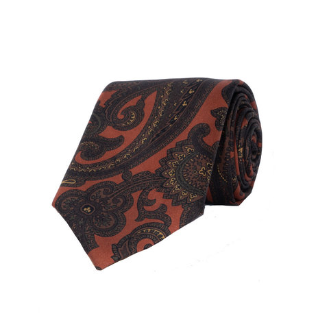 Silk Tie, Paisley - Orange