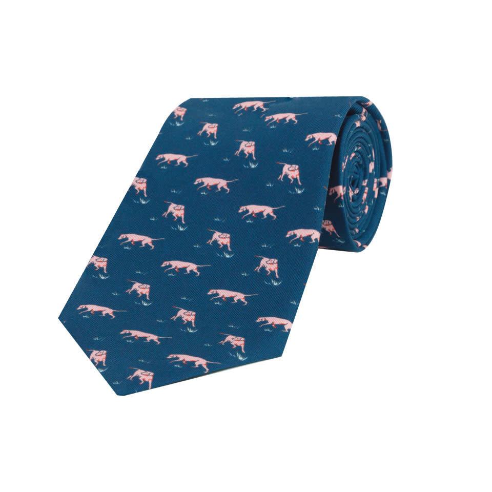 Silk Tie, Dog - Navy