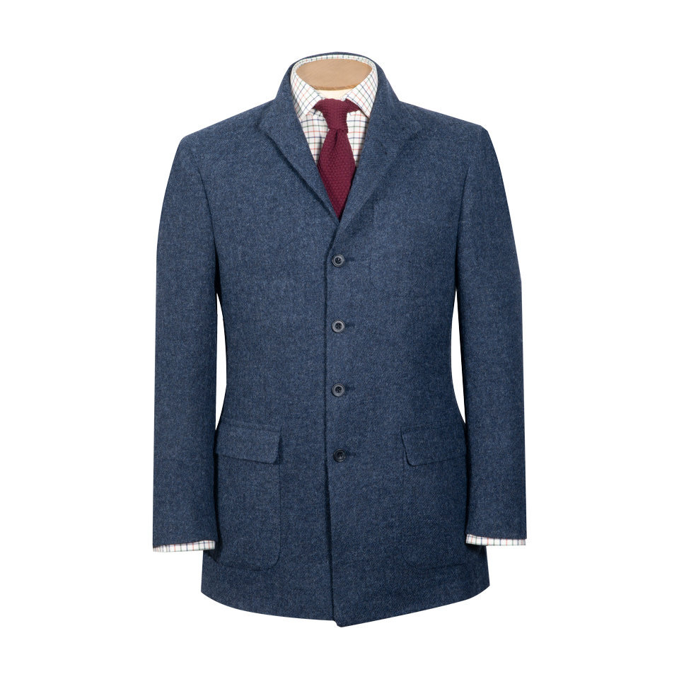 Nehru Country Jacket - Denim Blue Tweed