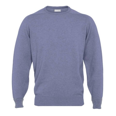 Cashmere Crew Neck Jumpers - Blue Mix