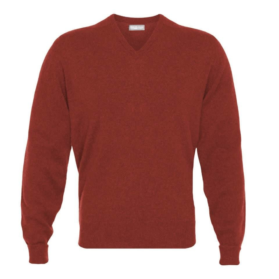 Cashmere V-Neck Jumpers - Bordeaux