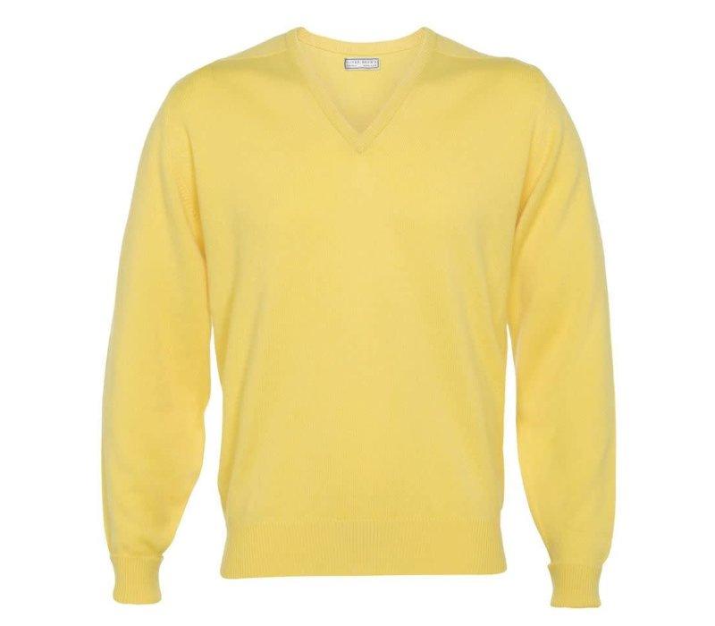 Cashmere V-Neck Jumpers - Lemon Frost