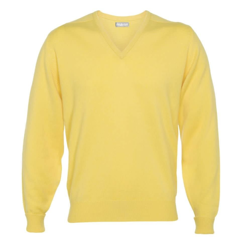 Cashmere V-Neck Jumpers - Lemon Frost