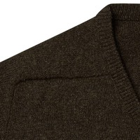 Lambswool V Neck Jumper with Suede Patches - Cocoa