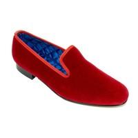 Embroidered Velvet Slippers - Red
