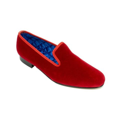 Embroidered Velvet Slippers - Red