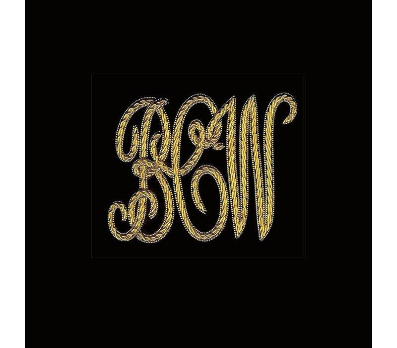Monogrammed Velvet Slippers - Black