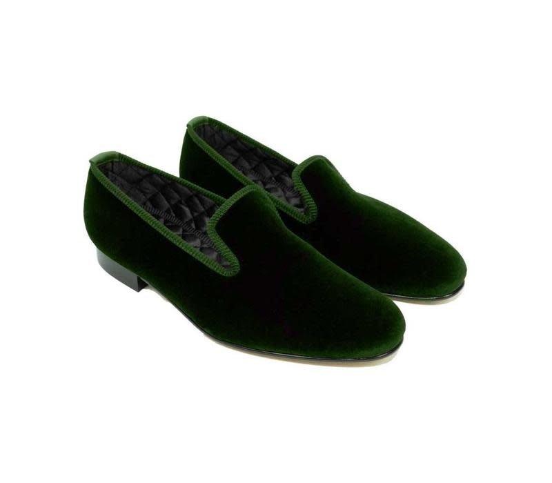 Monogrammed Velvet Slippers - Green