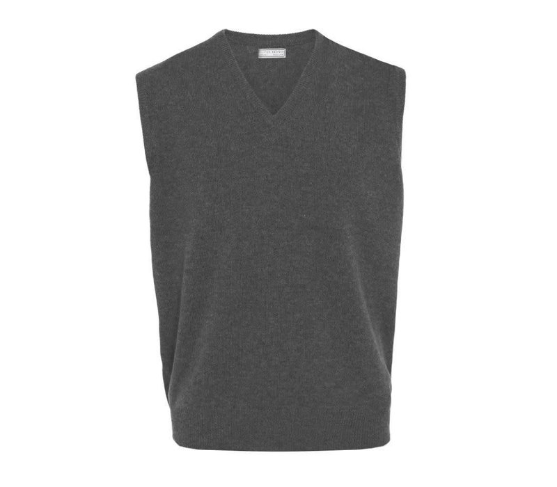 Sleeveless Lambswool Jumpers - Charcoal