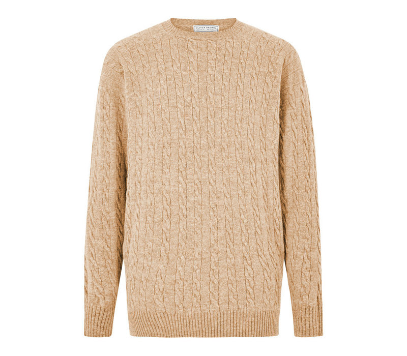 Cable Knit Crew Neck Jumper - Oat