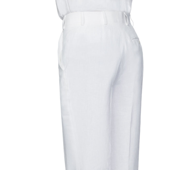 Pleated Trousers - White Linen
