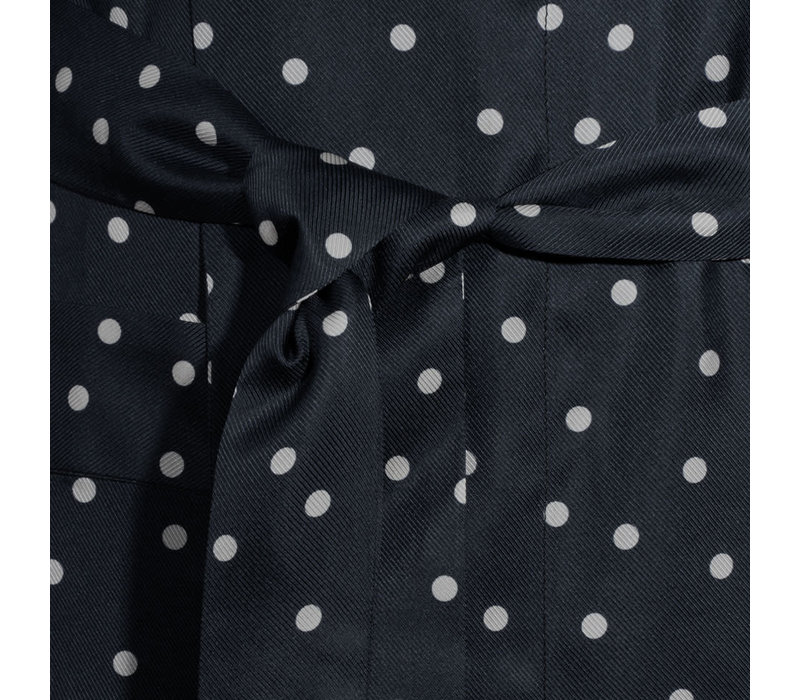 Silk Dressing Gown - Black/White Dot