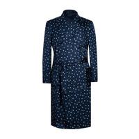 Silk Dressing Gown - Navy/White Dot