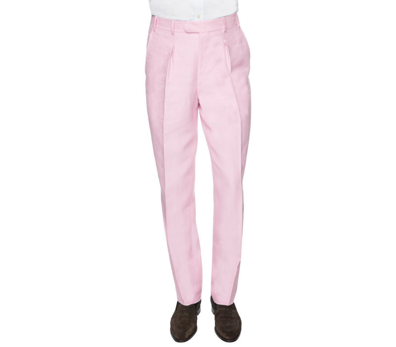 Pleated Trousers - Pale Pink Linen