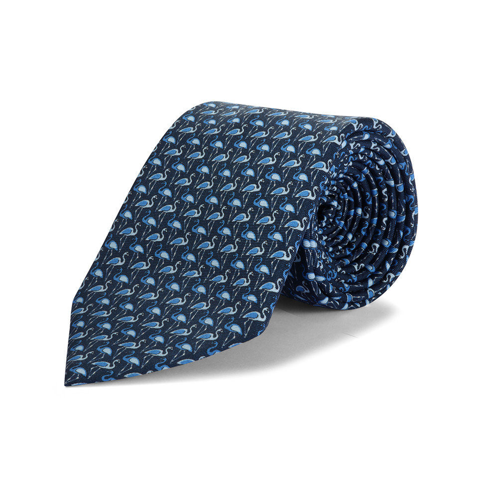 Silk tie, Flamingo - Navy