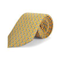 Silk tie, Flamingo - Yellow