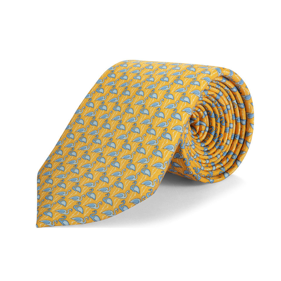 Silk tie, Flamingo - Yellow