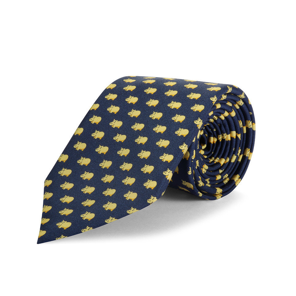 Silk Tie, Hippo - Navy/Yellow