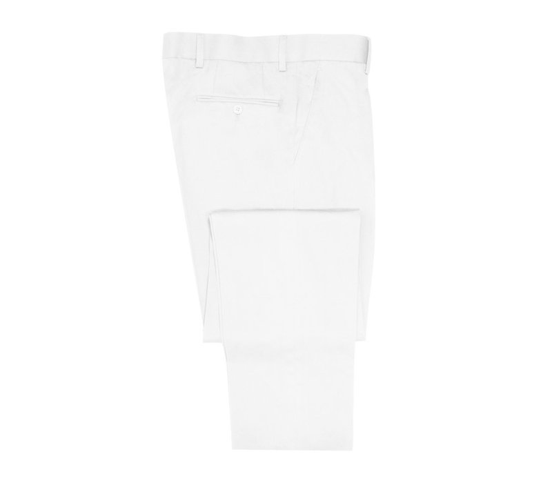 Flat Front Trousers - White Cotton Drill