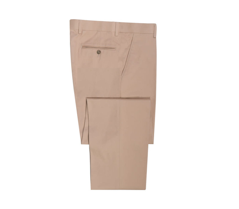 Flat Front Trousers -  Beige Cotton Drill