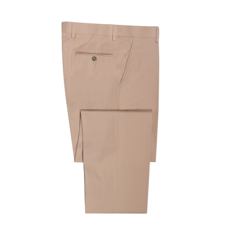 Pleated  Trousers - Beige Cotton Drill