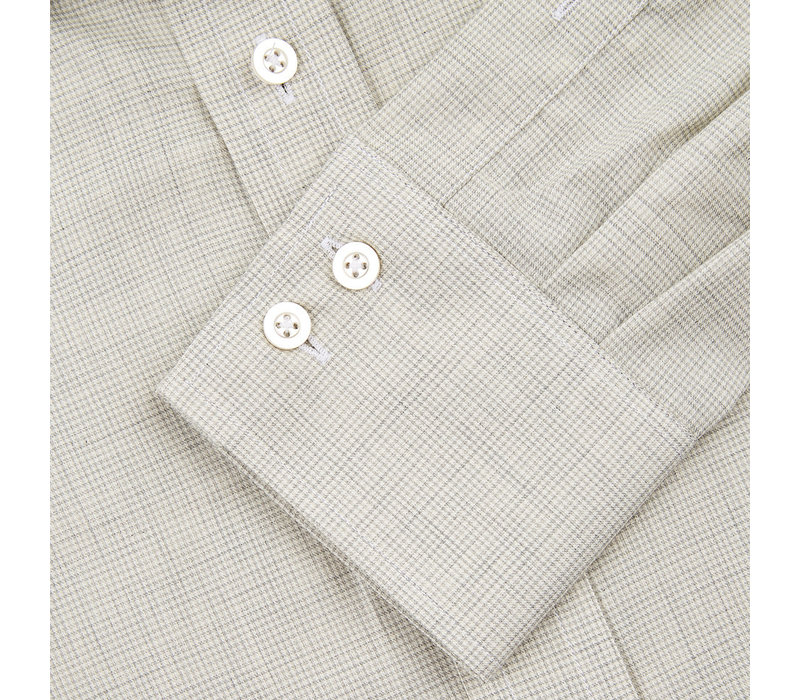 Cashmere Blend Country Shirt, Puppytooth - Beige