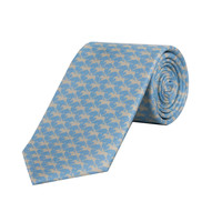 Horse and Jockey Tie - Sky and Pearl