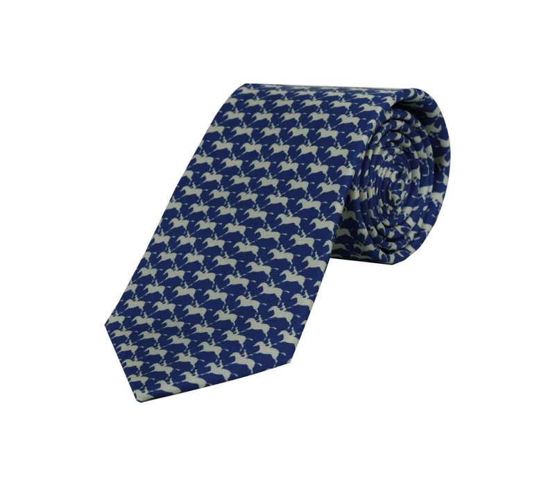 Horse and Jockey Tie - Smalt and Pearl