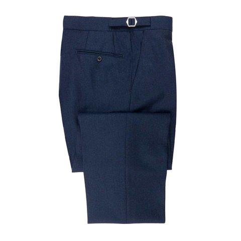 Flat Front Suit Trousers - Navy Cashmere Blend