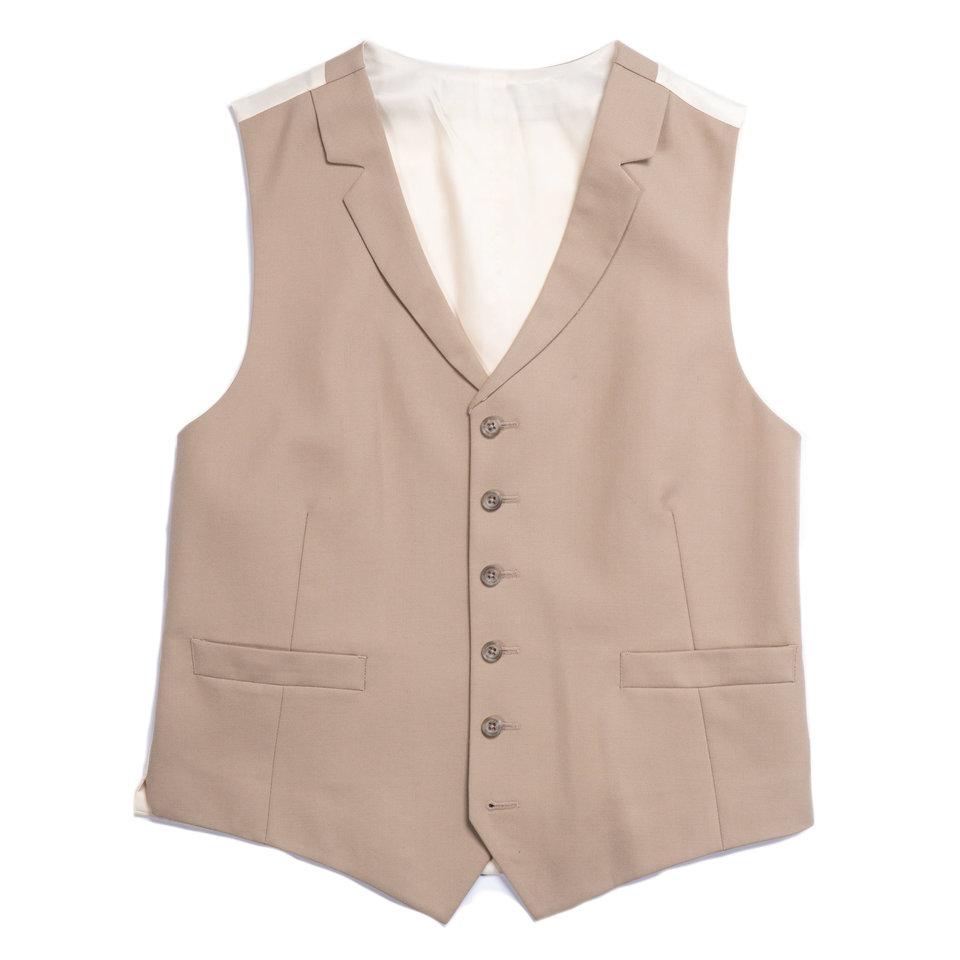Ex-Rental Single Breasted Wool Waistcoat - Buff