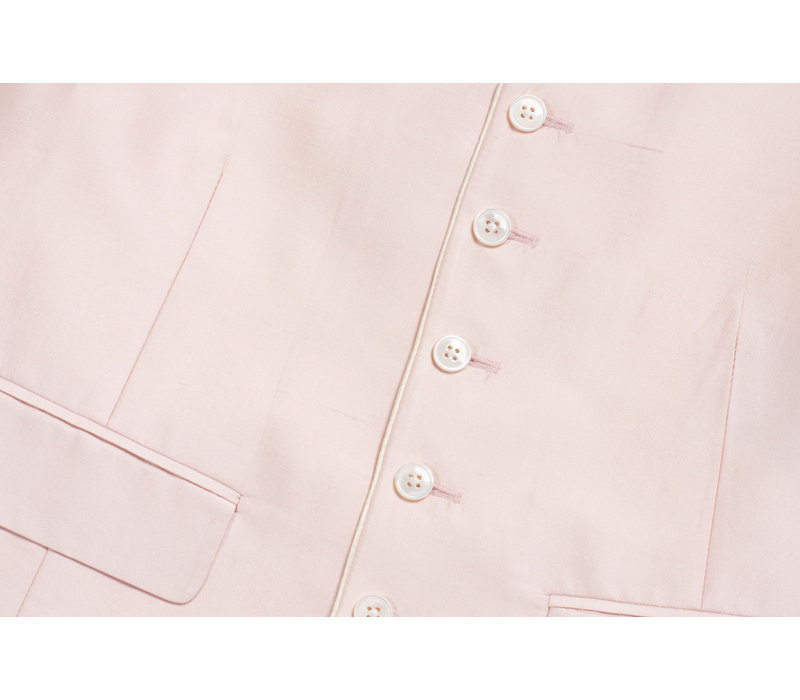 Single Breasted Silk Waistcoat with Piping - Pink