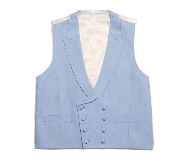 Double Breasted Linen Waistcoat - Pale Blue