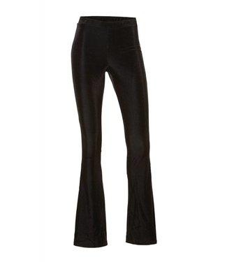 Rib Flared Pants Zwart