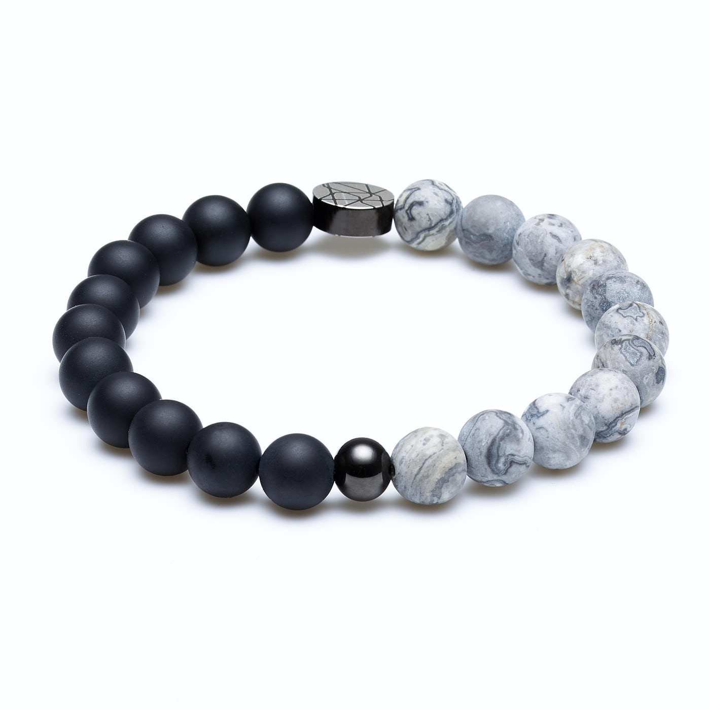 Sem Lewis Piccadilly South Kensington  beaded bracelet black/concrete (8 mm bead)
