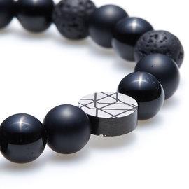 Sem Lewis Piccadilly South Kensinton kralenarmband zwart (8 mm kraal)