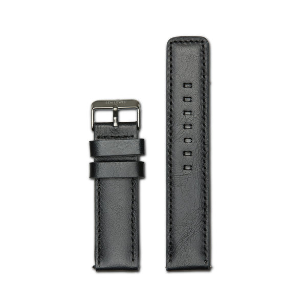 Sem Lewis horlogeband 22mm leather black