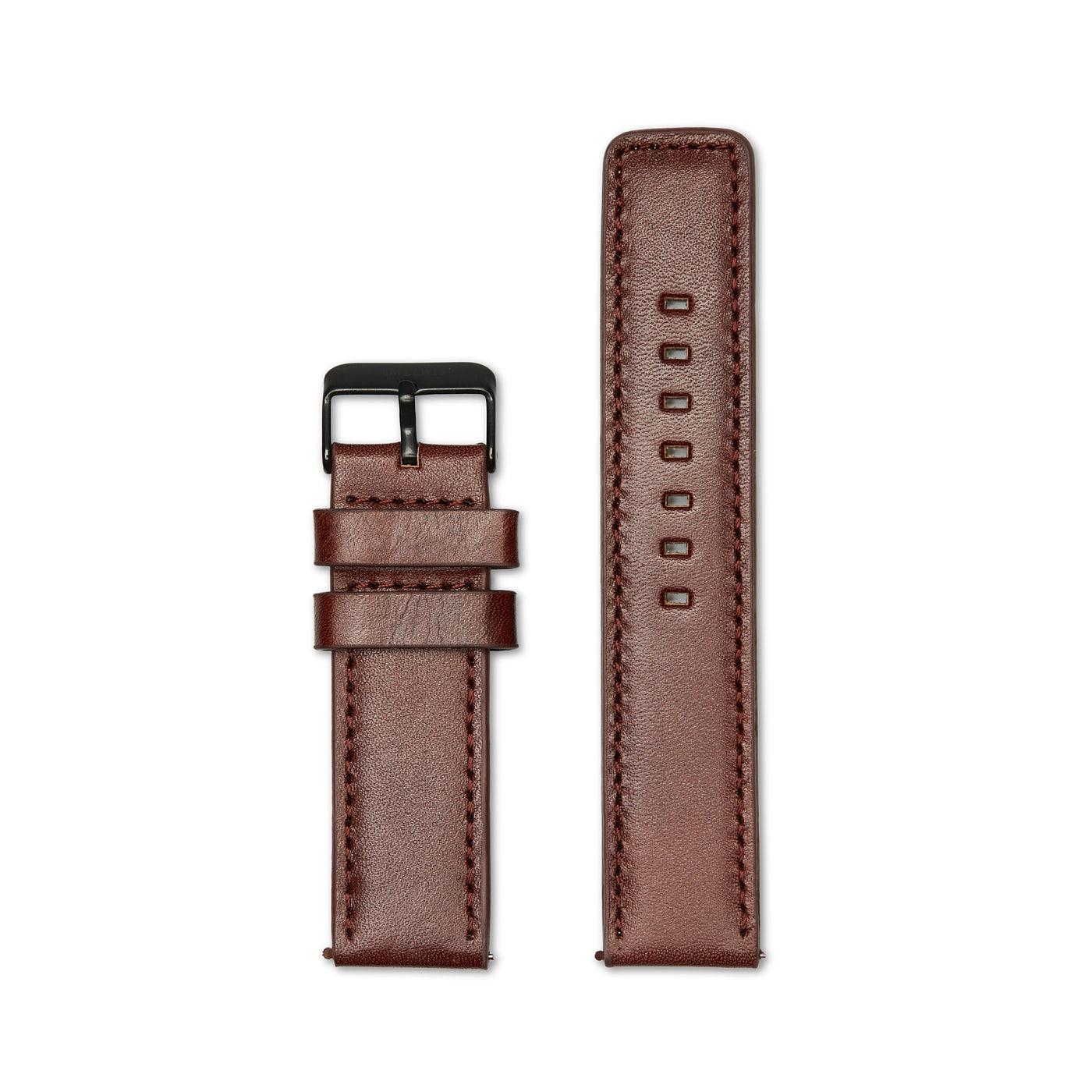 Sem Lewis Leren horlogeband 22 mm bruin