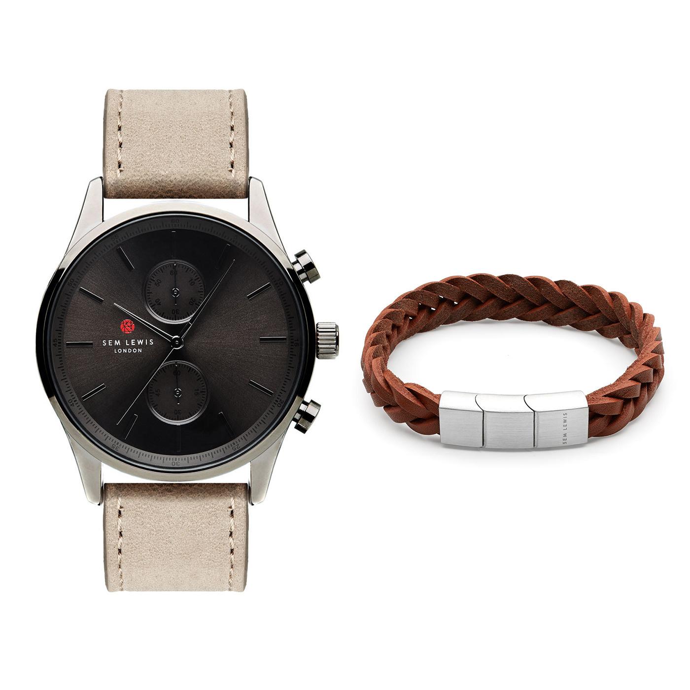 Sem Lewis Metropolitan chrono watch and Bakerloo Paddington bracelet giftset