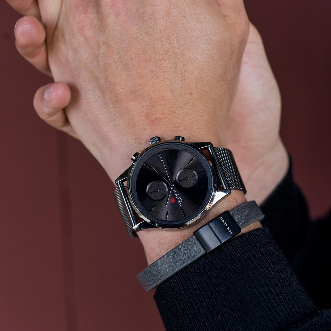 Sem Lewis Bakerloo Baker Street braccialetto di pelle grigio