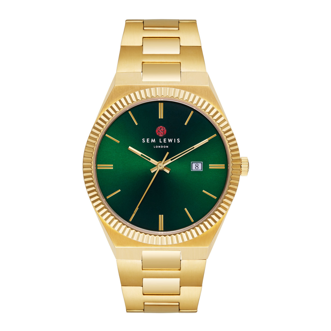 Sem Lewis Aldgate klocka guldfärgad och grön