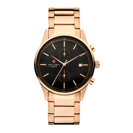 Sem Lewis Primrose Hill chronograph watch rose gold colored and black