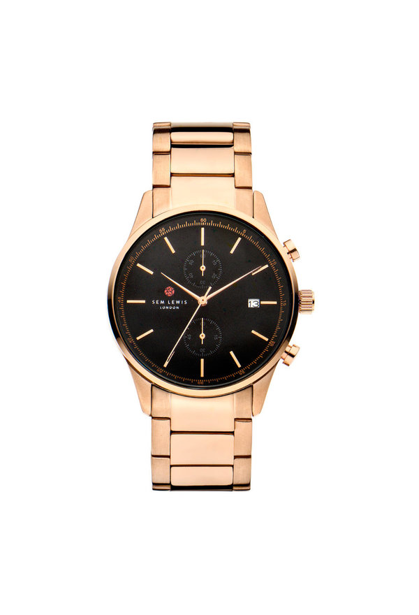 Sem Lewis Primrose Hill chronograph watch black/rose gold colored