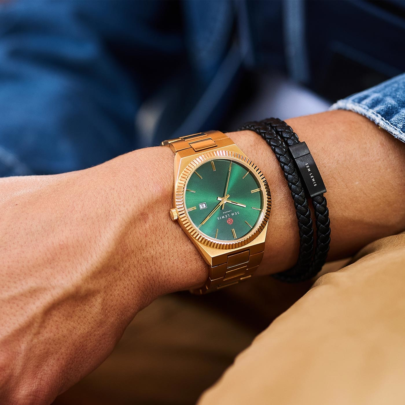 Sem Lewis Aldgate montre couleur or et vert