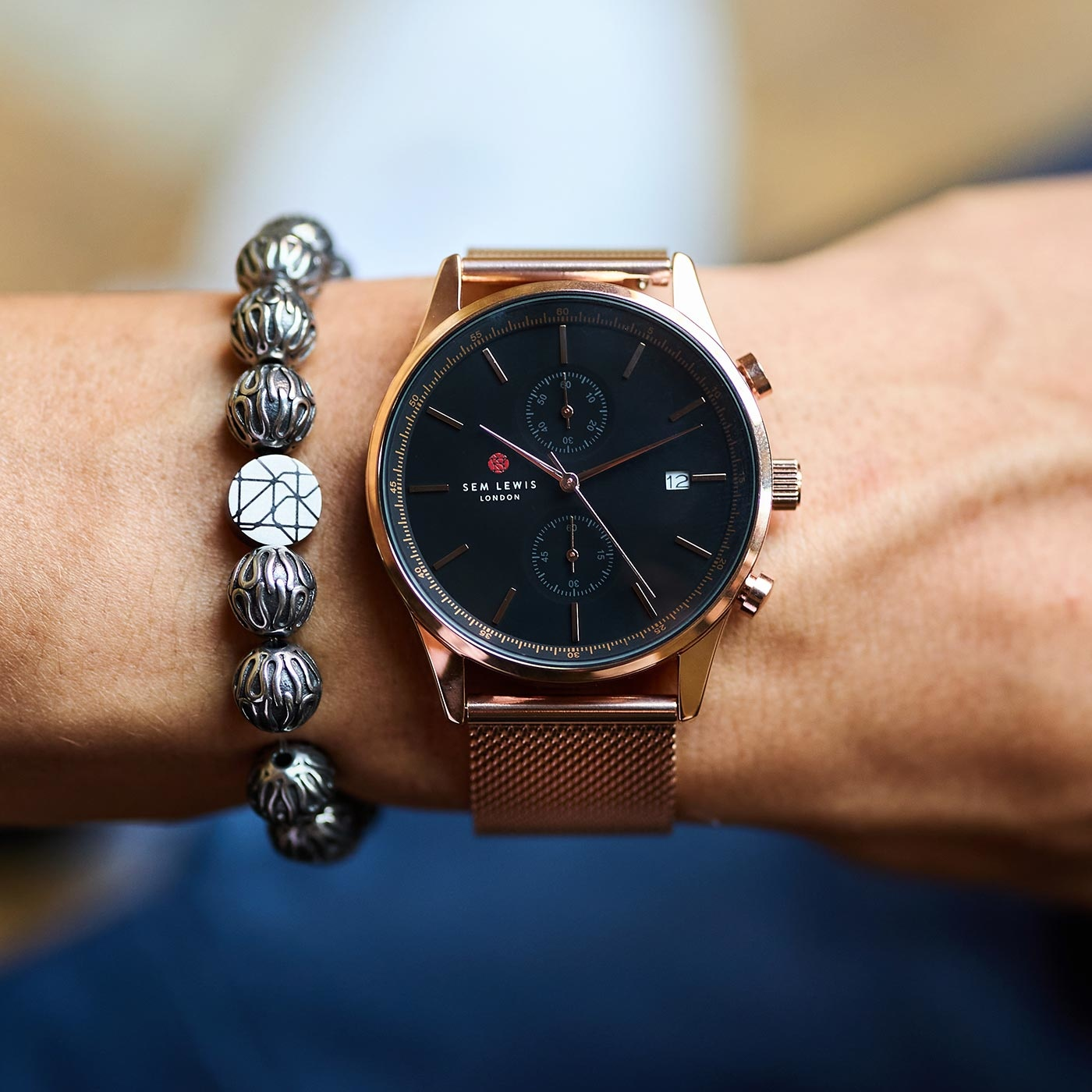 Sem Lewis Piccadilly South Kensington braccialetto di perline color argento