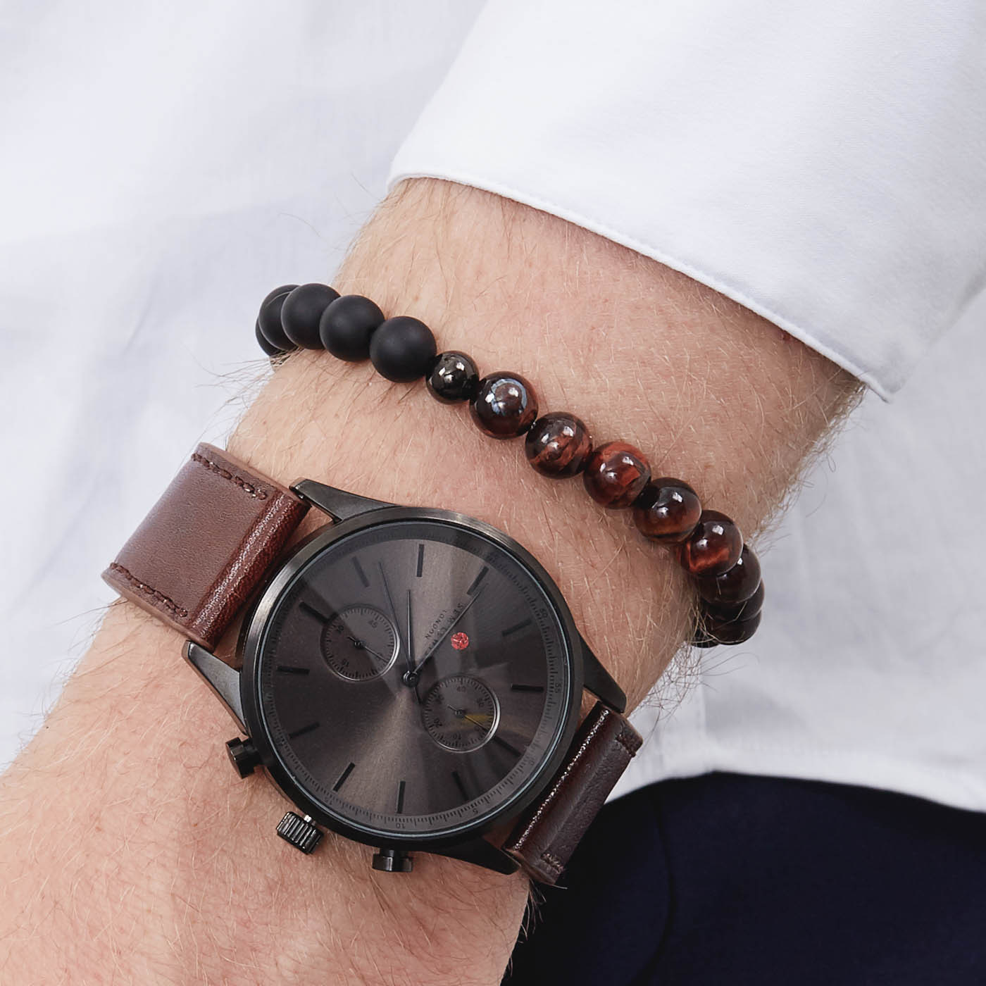 Sem Lewis Bakerloo Charing Cross leather brracelet and Piccadilly South Kensington beaded bracelet  giftset