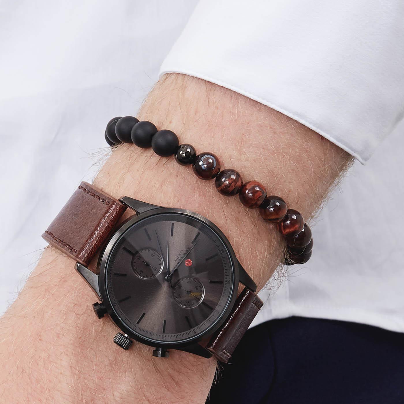 Sem Lewis Bakerloo Charing Cross leren armband en Piccadilly South Kensington kralenarmband giftset