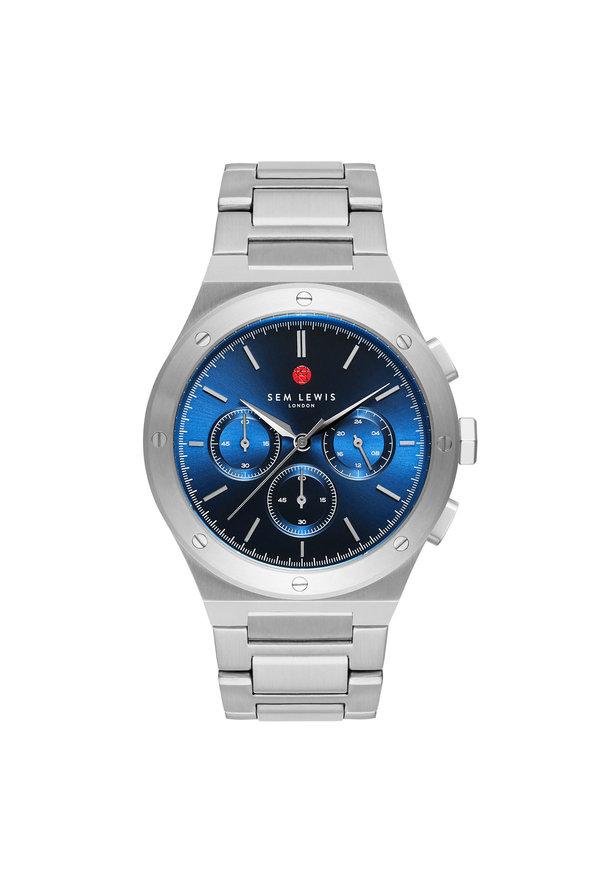 Sem Lewis Moorgate chronograaf horloge zilverkleurig en blauw