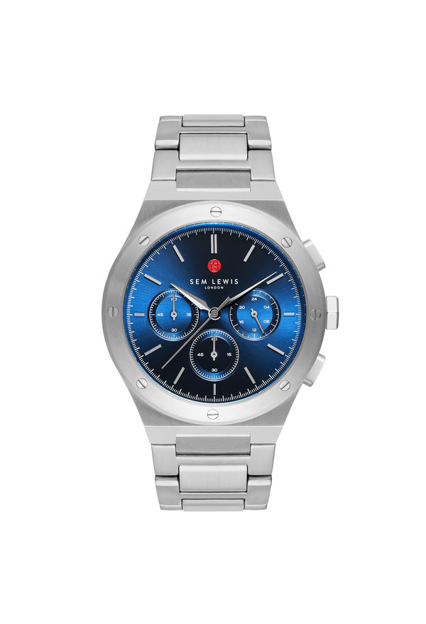 Sem Lewis Moorgate chronograph watch silver colored and blue
